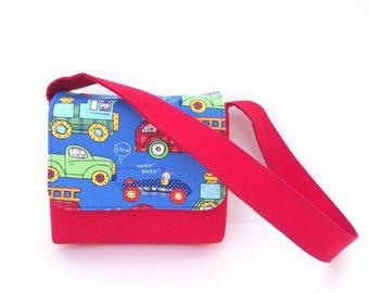 Toddler Messenger Bag, Boy Bag, Toddler Boy Bags, Boy Messenger Bag, Toddler Size Blue and Red Cars and Trucks Bag, Fire Truck Bag, Kids Bag