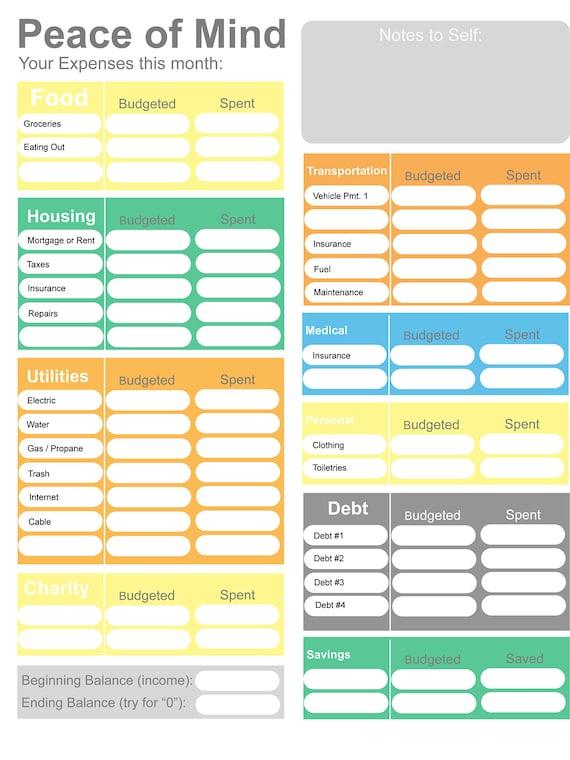 Printable Budget Home Budget Worksheet Colorful Budget Form 0 Budget Form Dave Ramsey Budgeting Fun Budget Form Instant Download