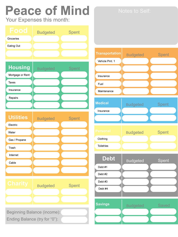 Printable Budget Home Budget Worksheet Colorful Budget Form Etsy