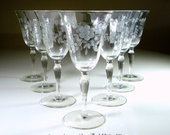 My Great-Grandparents' Antique Hand-Blown Crystal Wine Glasses or Water Goblets - Hand-Etched Floral Design on Paneled Glass (Set of 7)