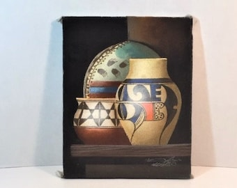 Original Oil Painting On Sanded Canvas Collectible 1980/'s Vintage Listed Artist Native American Pottery Still Life By Myung Mario Jung