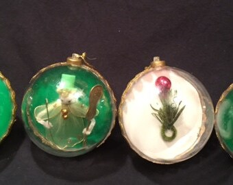 Christmas -4 clear plastic ornaments with decorations inside