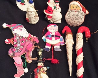 Christmas 9 Santa Claus and Snowman  ornaments
