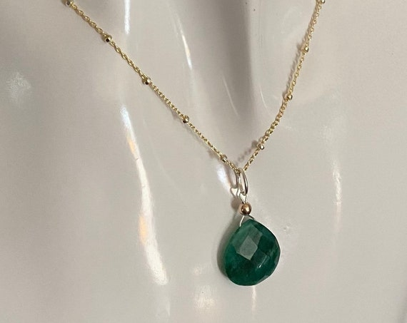 Emerald pendant with a 14k yellow gold filled and sterling silver chain, genuine emerald, May birthstone