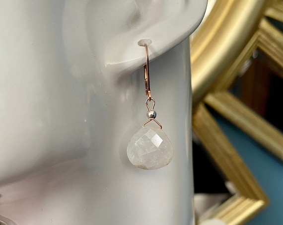 Faceted Moonstone earrings on 14k rose gold filled leverbacks. June birthstone