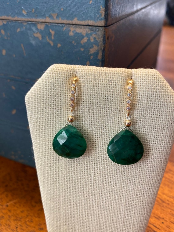 Emerald drop earrings, yellow gold plated with CZ's. * May birthstone