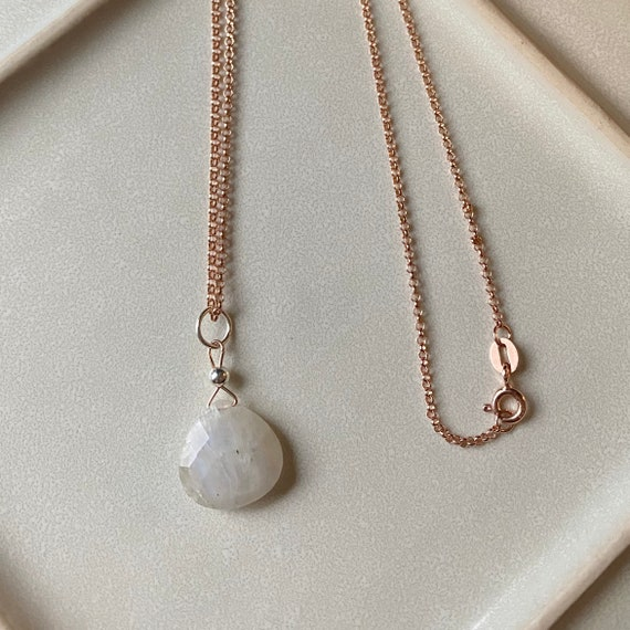 Moonstone pendant on a 14k rose gold filled rolo chain, * June's birthstone