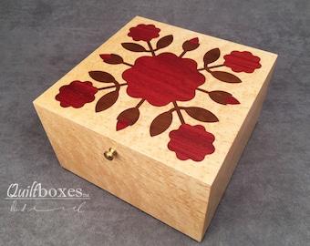 Rose Of Sharon Keepsake Box in Baby Birdseye Maple