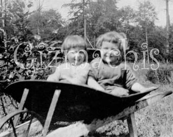 Girls in a Wheelbarrow Vintage Photo Download