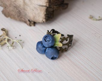"""Ring """"Blueberry"""" Cold porcelain berries Realistic berry studs Rustic jewelry Leaf studs Forest jewelry Blue ring"""