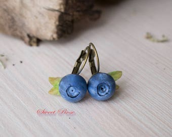 """Earrings """"Blueberry"""" Cold porcelain berries Realistic berry studs Rustic jewelry Leaf studs Forest jewelry Blue earrings"""