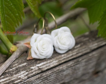 White Roses earrings Cold porcelain Wedding earrings Bride jewelry Image of bride