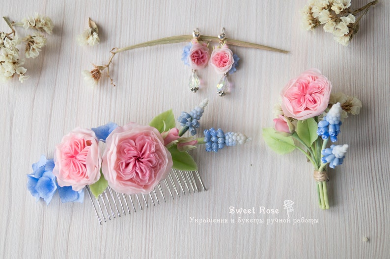 Flower boutonniere with Peony roses and muscari Shabby chic Cold porcelain Wedding hairstyle Bridal flower comb Pink Blue wedding