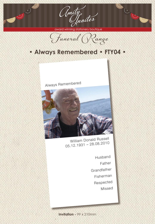Tarjeta de luto funeral gracias imprimibles invitación | Etsy