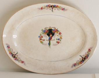 Vintage Saxon China Platter, Parrot, Lantern, 1930, Ironstone, Japonism