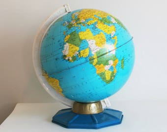 Vintage Tin Litho Globe, Student Map, J Chein, NJ, Metal 9 Inch World Capitals
