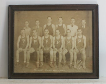 Vintage Large Framed Basketball Team Photograph, Pulaski Young Men's Club, 1937, Black and White Sepia Photo