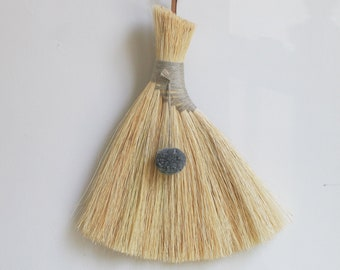 Handmade Broom, Tampico Wing Whisk, Made by Hand Brush with Gray Wool Pompom, Natural Linen, Leather