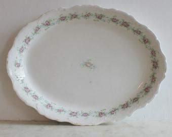 Vintage Knowles Taylor Porcelain China Platter, Ironstone, Pink, Blue, Green Roses