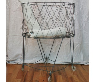 Vintage Wire Folding Laundry Basket, Rolling, Collapsible, Wheels, Allied