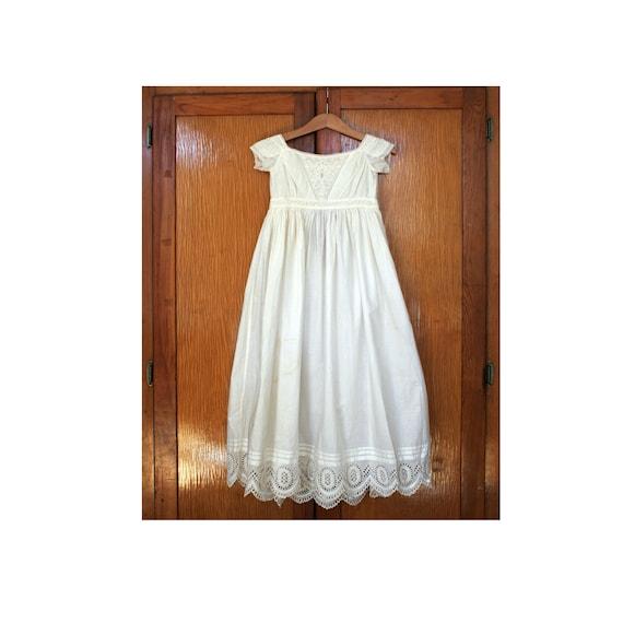 Antique Victorian Christening Gown, Handmade, Embr