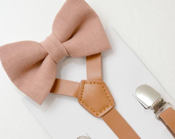 Suspenders SET 8mon Adult Kids Mens Baby Boys 12 inch Rust  Brown PU Leather Suspenders /& Dark Mauve Dusty Pink bow tie Linen Wedding SET
