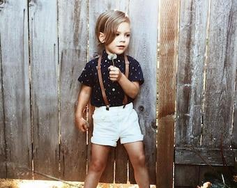 SKINNY Brown Suspenders / Rustic  Hipster BROWN Faux Leather Adjustable Suspenders Y-Back Kids Boys Infant -  ADULT Page Boy Groom