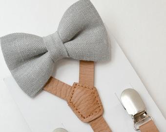 Suspenders SET 8 months- Adult  Kids Mens Baby Boys Skinny Brown Vintage Pu Leather Suspenders & Rustic Gray Linen Burlap bow tie SET