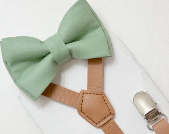 Suspenders SET Infant - Adult Kids Mens Baby Boys 1/2 inch Brown PU Leather Suspenders &  Sage Green Cotton bow tie Wedding Groom Page Boy