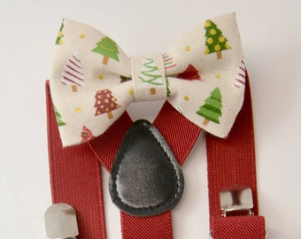 Suspenders SET 8mon - Adult Mens Kids Baby Boys Red Suspenders & Ivory Red  Holiday Christmas tree bow tie  Bowtie  SET