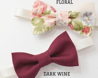 Vintage Style PASTEL Bow Tie / Kids Children Toddler Boys Baby  / DARK Wine Burgundy Bow Tie /  Floral Roses Bow tie Page Boy Groom Wedding