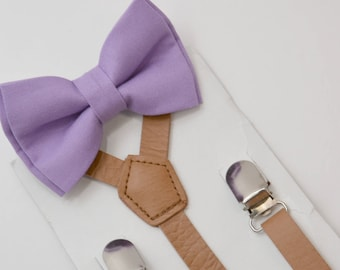 6 months- Adult  Kids Mens Baby Boys  Brown Vintage Pu Leather Suspenders & Lilac Purple Cotton bow tie Page Boy Groom Wedding SET