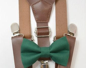 38b0f1799d5 Suspenders SET 8months- Adult Kids Mens Baby Boys 1 inch Wide Dark Brown PU Leather  Suspenders   Juniper Green bow tie Wedding Page Boy SET