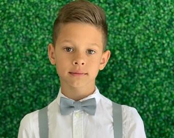 Suspenders SET 8months- ADULT Kids Baby Boys Light Gray Suspenders & Light Gray bow tie Wedding Groom Page Boy Birthday SET