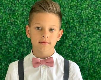 Suspenders SET 6 mo - Adult Kids Mens Baby Boys Charcoal Gray Y-Back Suspenders &  Dusty Rose Pink bow tie Wedding Groom Page Boy SET