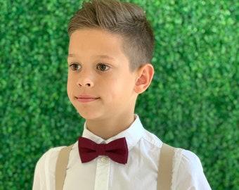 Suspenders SET 8mo - Adult Kids Mens Baby Boys  Tan Khaki Y-Back Suspenders & Dark Wine Burgundy Red bow tie Wedding Groom Page Boy SET