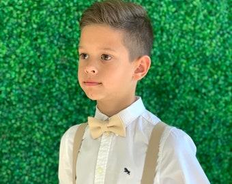Suspenders SET  8 months- Adult  Kids Mens Baby Boys Light Tan Khaki Suspenders & Tan bow tie Wedding Groom Page Boy