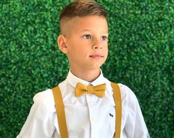 SET Suspenders 8months- ADULT Kids Children Baby Boys Mustard Yellow Suspenders & Mustard Linen bow tie Wedding Page Boy Groom