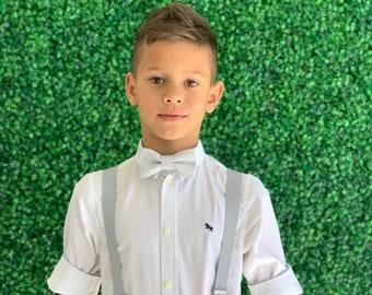 Suspenders SET 8months- ADULT Mens Kids Children Baby Boys PASTEL Light Gray Suspenders & Pastel Gray bow tie Wedding Page Boy Groom