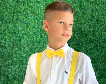 Toddler Baby Boys Girls Child Yellow Bow Tie Vintage Black Suspender Y Clips
