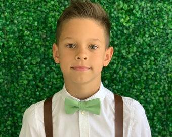 Suspenders  6 months- Adult Kids Mens Baby Boys Wide Dark Brown PU Leather Suspenders & CLOVER Light Sage Green bow tie Wedding Page Boy SET