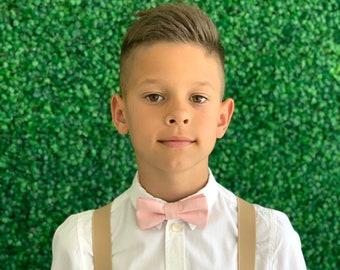 Suspenders SET 8months- Adult  Kids Children Baby Boys Mens Beige Tan Khaki Suspenders & PETAL Blush Pink bow tie Wedding Page Boy Groom SET