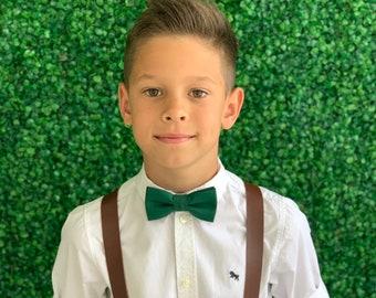 Suspenders SET 8months- Adult Kids Mens Baby Boys 1 inch Wide Dark Brown PU Leather Suspenders & Juniper Green bow tie Wedding Page Boy SET