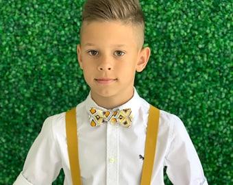 Suspenders SET 8mo- Adult Kids Mens Baby Boys Mustard Yellow Y-Back Suspenders & Mustard Yellow Gray Ornament bow tie Wedding Groom Page Boy