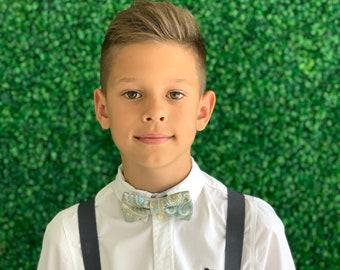 Suspenders SET 6mon - Adult  Kids Children Baby Boys Charcoal Gray Suspenders & Pastel Paisley Aqua bow tie Wedding Page Boy Groom SET