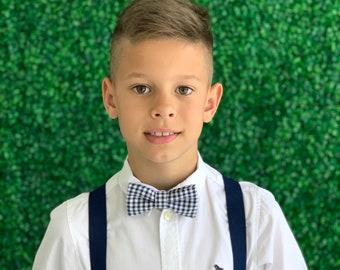 SET Suspenders 8months- ADULT Kids Children Baby Boys Navy Blue Suspenders & Gingham Plaid Navy Blue Bow Tie Wedding Page Boy Groom