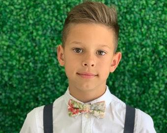 Suspenders SET 6mon-Adult Kids Mens Baby Boys Charcoal Gray Y-Back Suspenders & Vintage Floral bow tie Wedding Groom Page Boy SET