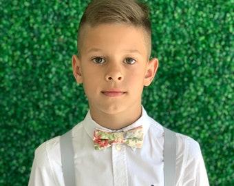 Suspenders SET 6mon-Adult Kids Mens Baby Boys PASTEL Light Gray Y-Back Suspenders & Vintage Floral bow tie Wedding Groom Page Boy SET