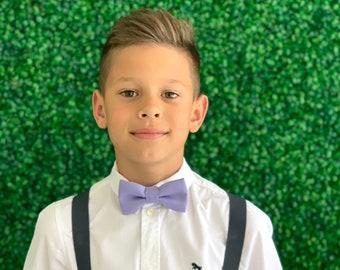 Suspenders SET 8mo - Adult Kids Mens Baby Boys Charcoal Gray Y-Back Suspenders & Lavender Purple bow tie Wedding Groom Page Boy SET