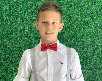 SET Suspenders 8mon - Adult  Kids Children Baby Boys Light PASTEL Gray Suspenders & Red Cotton bow tie Wedding Page Boy Groom SET